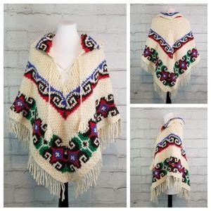 Vintage Boho Festival Chunky Knit Poncho Fringe